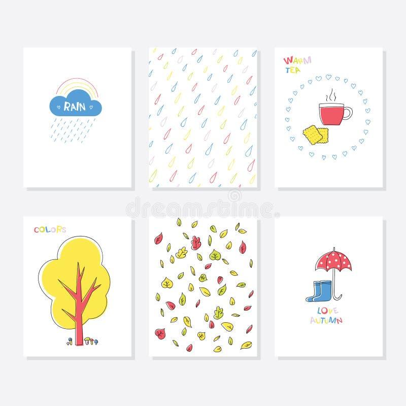 Ensemble de 6 calibres créatifs mignons de cartes avec Autumn Design Main illustration libre de droits