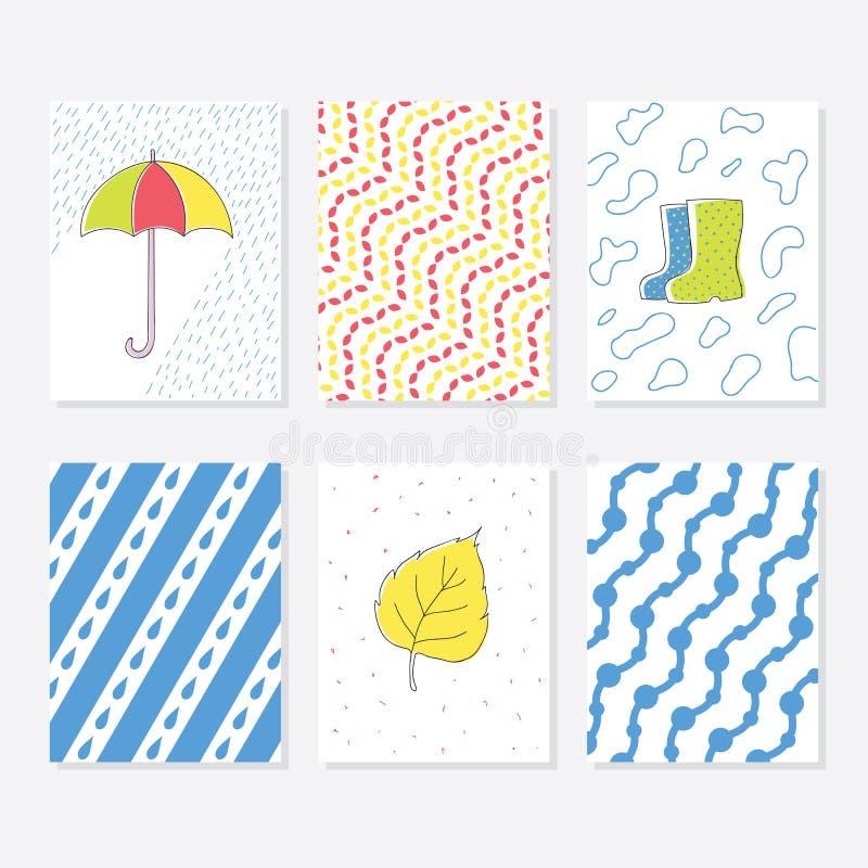 Ensemble de 6 calibres créatifs mignons de cartes avec Autumn Theme Design Carte tirée par la main pour l'anniversaire, anniversa illustration libre de droits