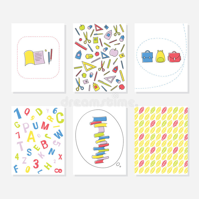 Ensemble de 6 calibres créatifs mignons de cartes avec l'école et l'Autumn Theme Design Carte tirée par la main pour l'anniversai illustration libre de droits