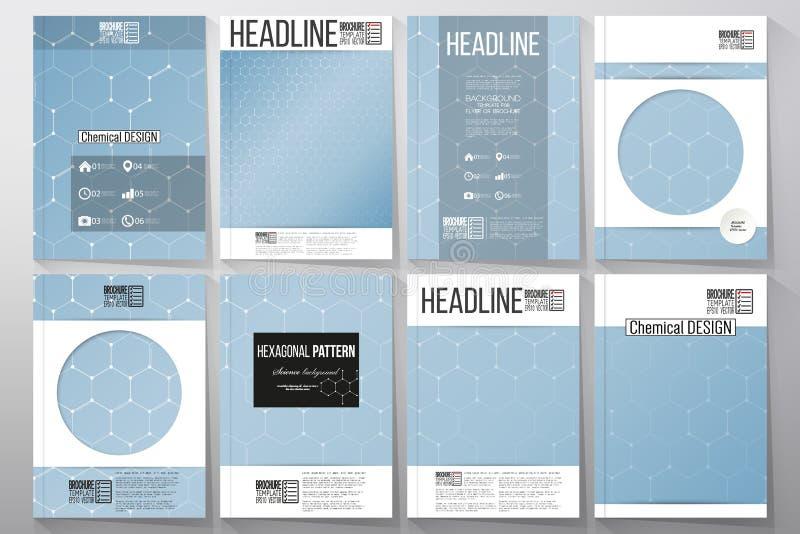 Ensemble de calibres d'affaires pour la brochure, l'insecte ou le livret Modèle de chimie, illustration hexagonale de vecteur de  illustration libre de droits
