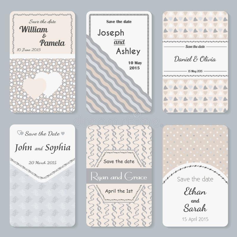 Ensemble de calibres d'invitation Carte élégante de jour du mariage de vintage illustration libre de droits
