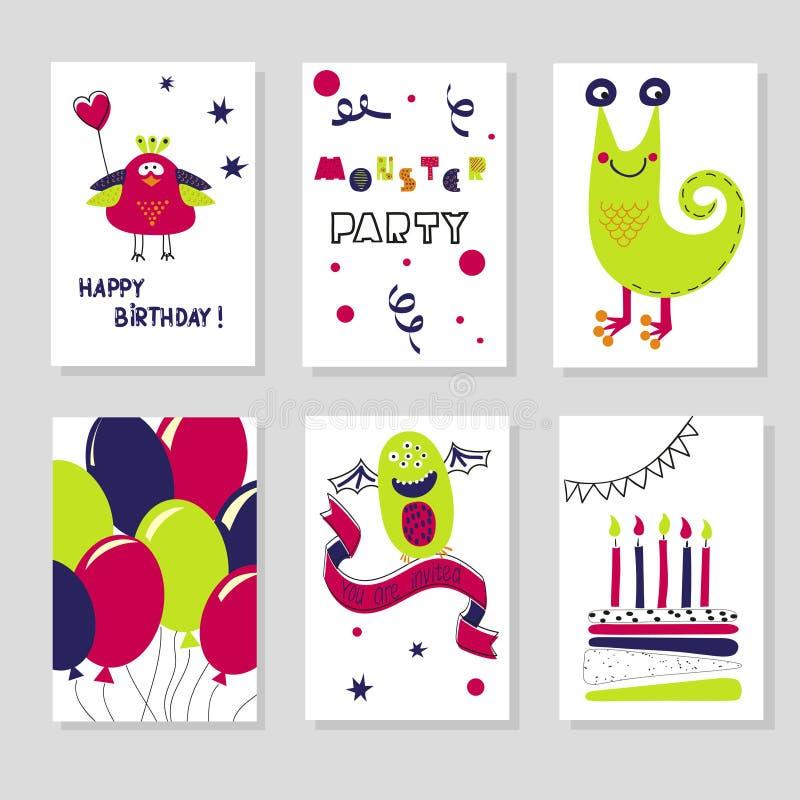 Ensemble de calibres de cartes d'anniversaire monstres mignons de dessin animé illustration libre de droits