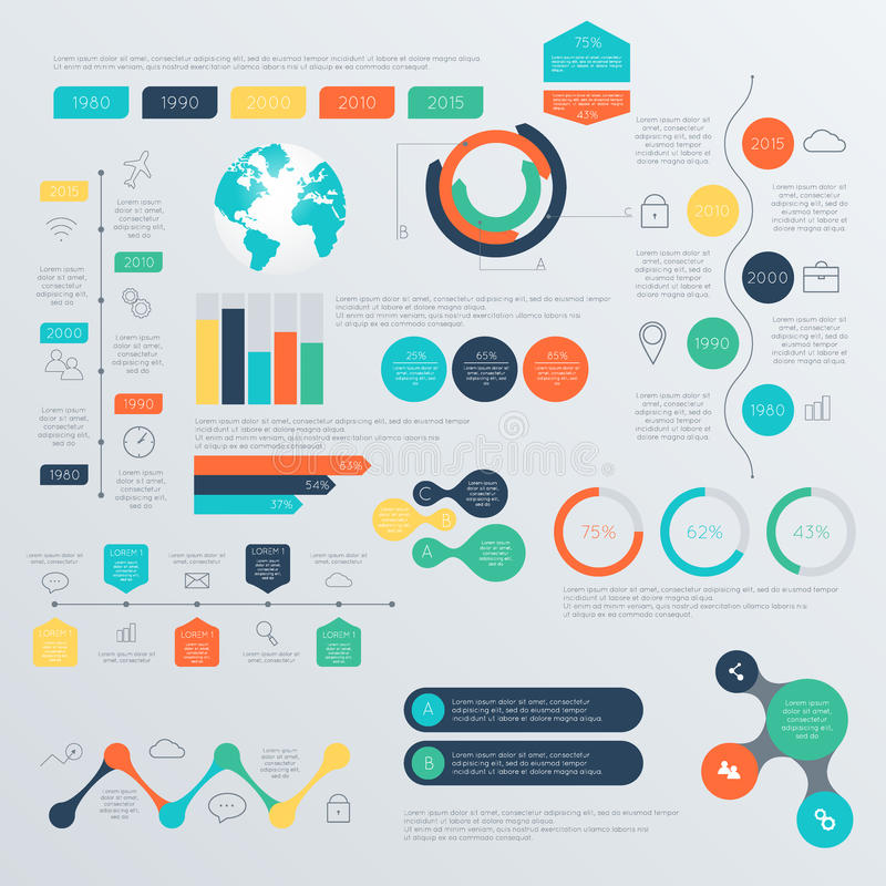 Ensemble de calibres de conception d'Infographic de chronologie illustration stock