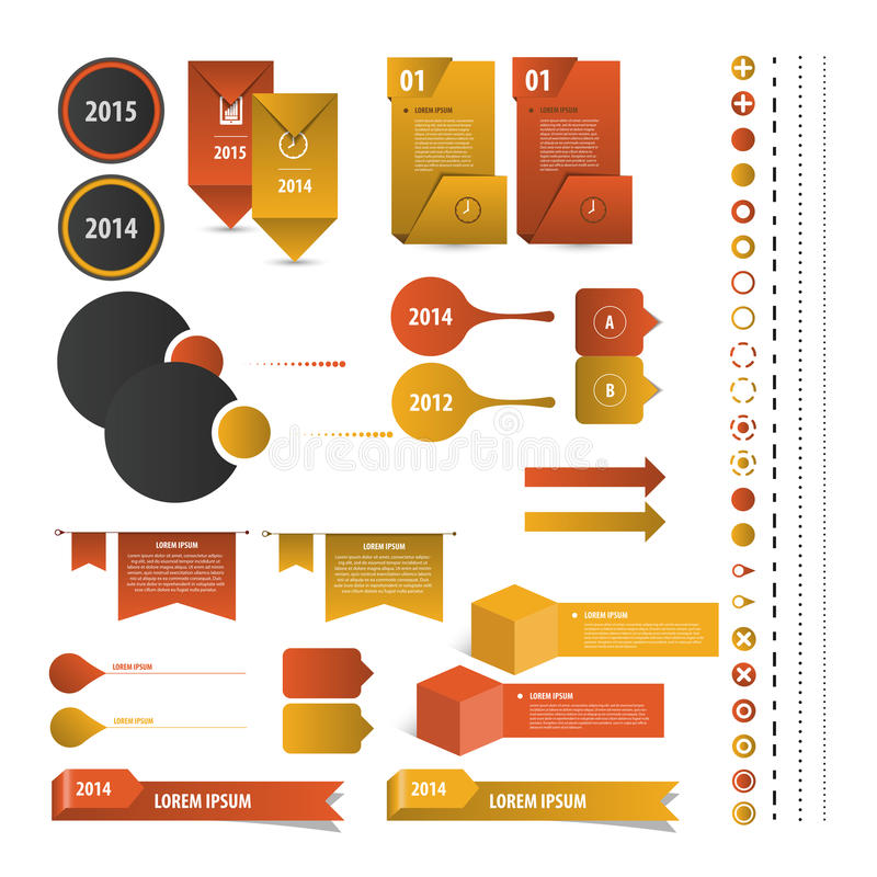 Ensemble de calibres de conception d'Infographic de chronologie Vecteur illustration stock