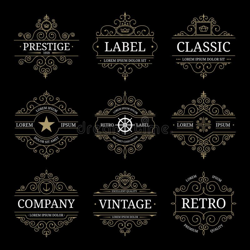Ensemble de calibres de luxe de logo de rétro vintage illustration de vecteur