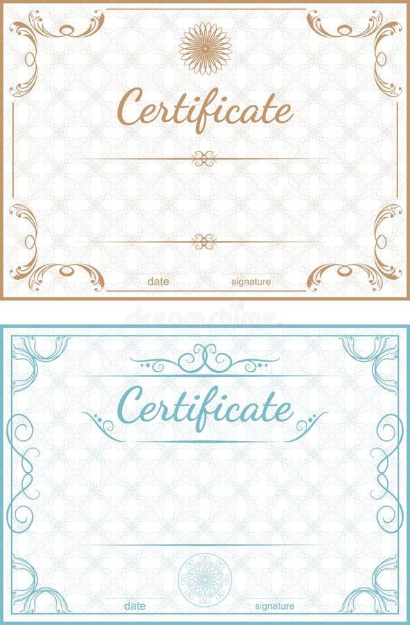 Ensemble de calibres de vecteur des certificats sur un dos bleu et beige illustration stock