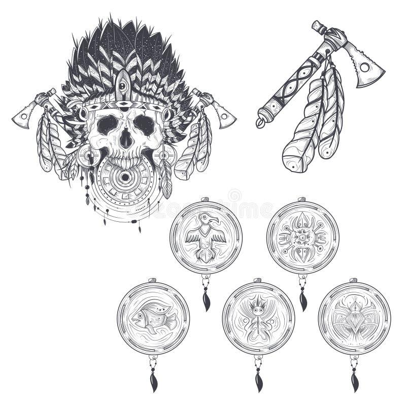 Ensemble de calibres de vecteur pour un tatouage avec un crâne humain dans un chapeau indien de plume, un tomahawk et de divers r illustration libre de droits