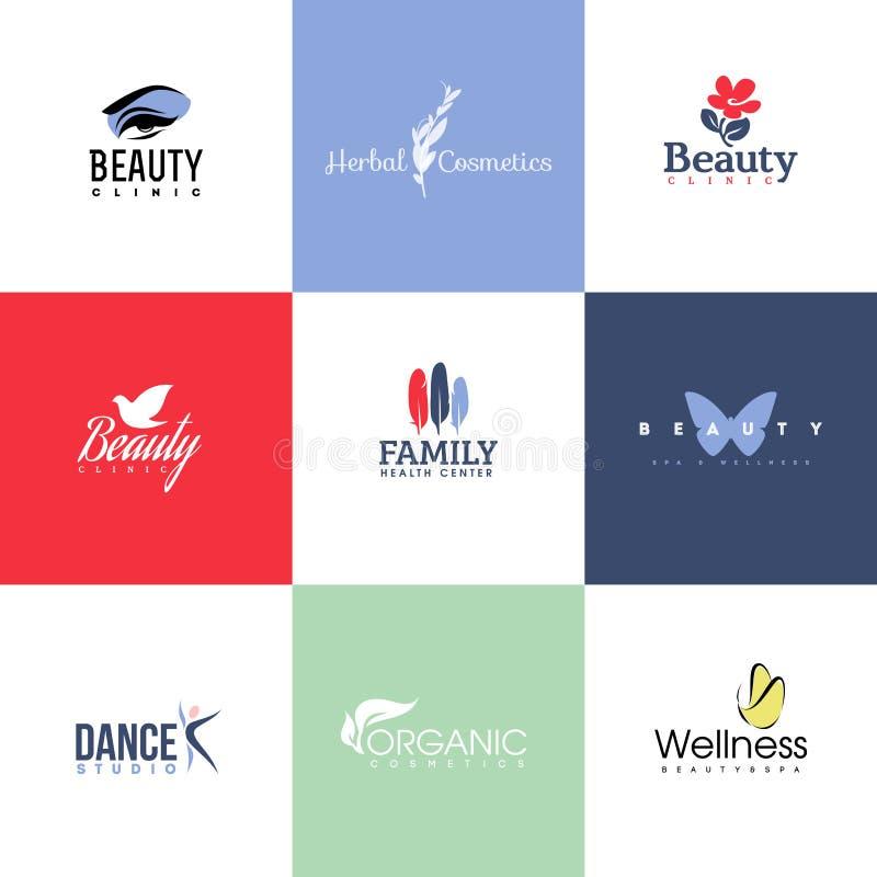 Ensemble de calibres et d'icônes de logo de beauté et de nature illustration stock