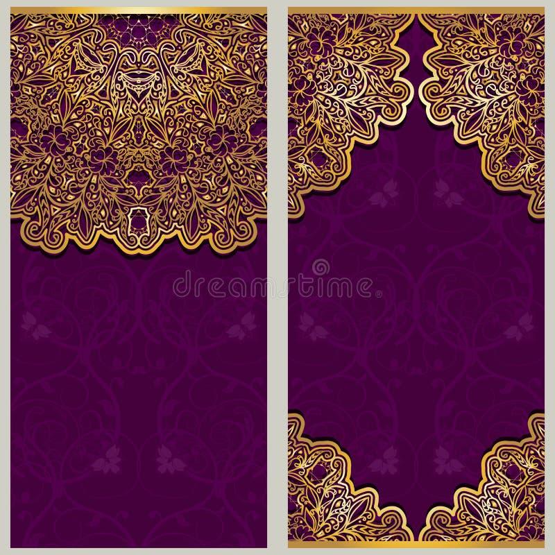 Ensemble de calibres fleuris pour des bannières ou de carte de voeux avec des ornements dans le style oriental illustration de vecteur