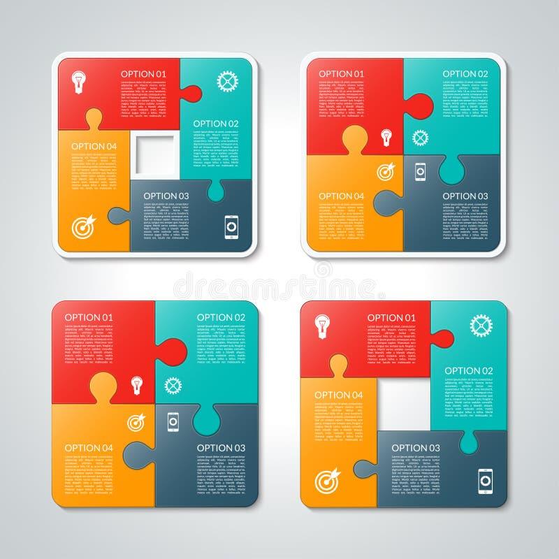 Ensemble de calibres infographic de puzzle de vecteur illustration de vecteur