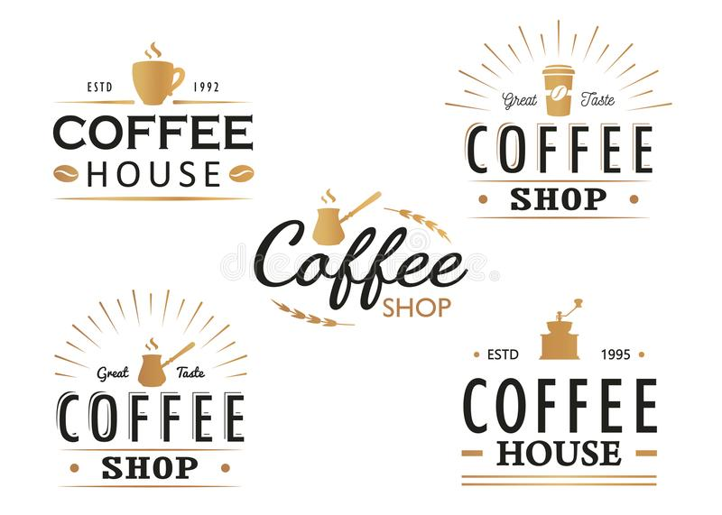 Ensemble de calibres de logo de café de vintage, insignes et éléments de conception Collection de Logotypes pour le café, café, r illustration stock