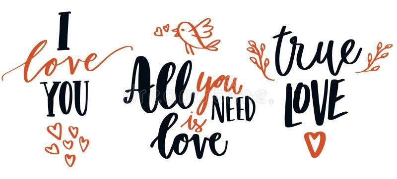 Ensemble de calligraphie d'amour photos stock