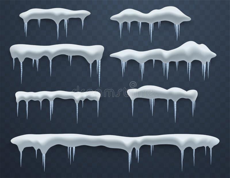 Ensemble de calottes glaciaires Congères, glaçons, décor d'hiver d'éléments, décorations de glace Les masses réalistes de neige illustration de vecteur