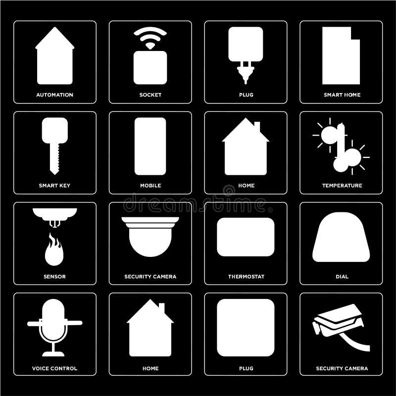 Ensemble de caméra de sécurité, prise, contrôle de voix, thermostat, sonde, illustration libre de droits