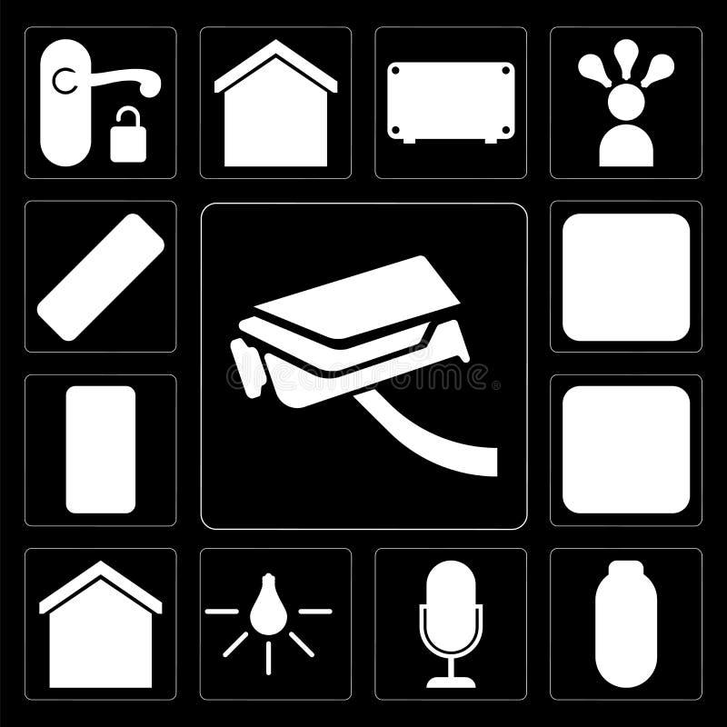 Ensemble de caméra de sécurité, puissance, contrôle de voix, lumière, maison futée, illustration libre de droits