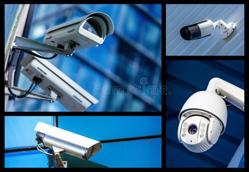 Ensemble de caméras de sécurité dans diverses situations images stock