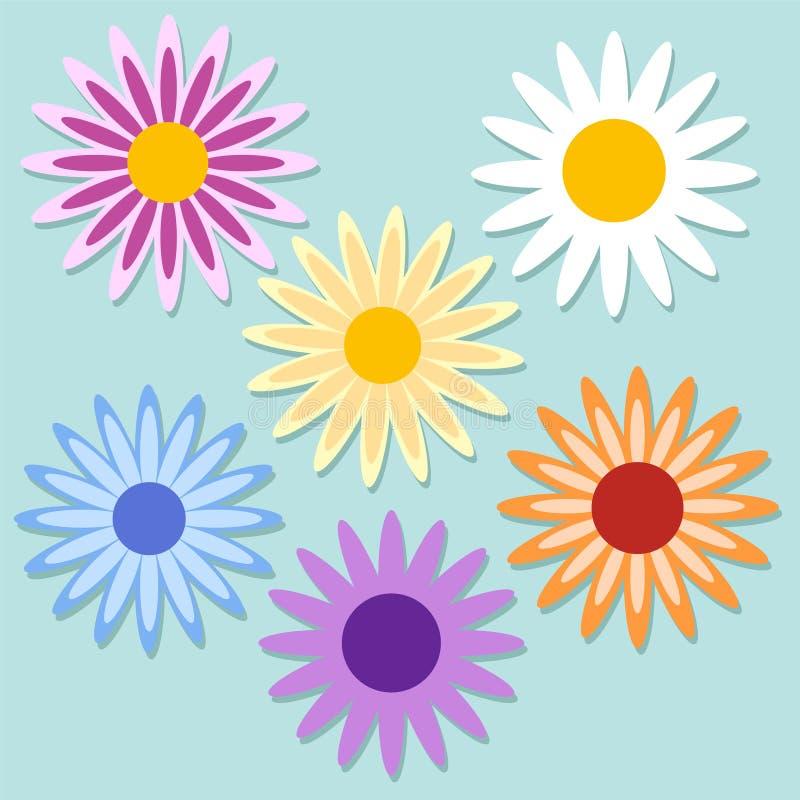 Ensemble de camomille de marguerite de couleur Collection mignonne d'usine de fleur stoc illustration libre de droits