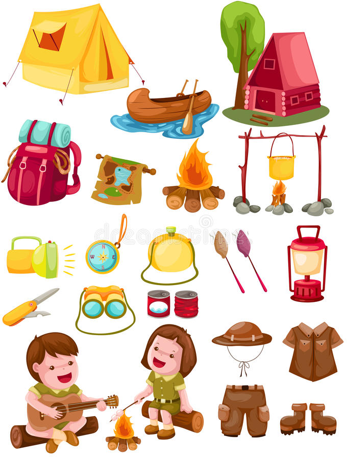 Ensemble de camping illustration stock