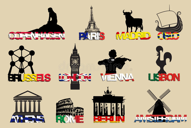 ensemble de capitaux l'Europe de symboles d'icônes Illustrayion de vecteur illustration de vecteur