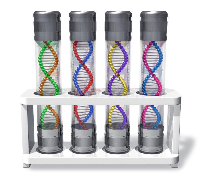 Ensemble de capsules avec des molécules d'ADN illustration de vecteur