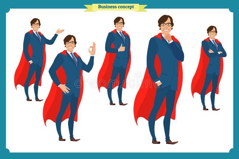 Ensemble de caractère d'affaires dans le costume exprimant des sentiments et des émotions illustration stock