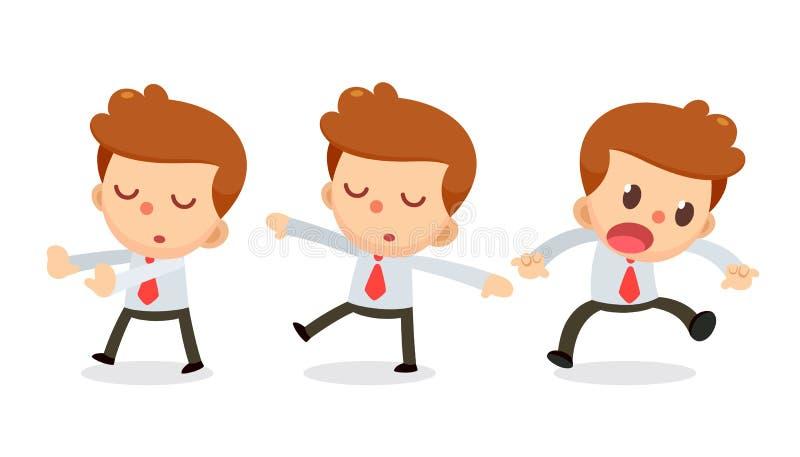 Ensemble de caractère d'homme d'affaires dans les actions rêvassez illustration de vecteur