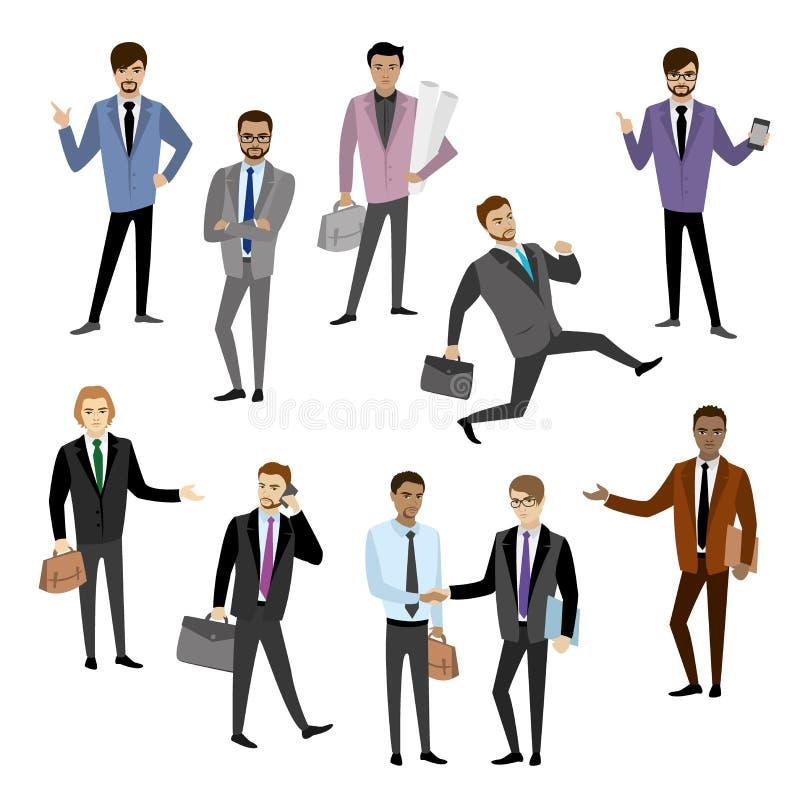Ensemble de caractère différent d'homme d'affaires, illustration stock