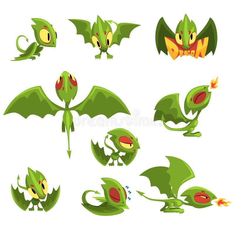 Ensemble de caractère de dragon de bébé de vert de bande dessinée dans différentes situations illustration de vecteur