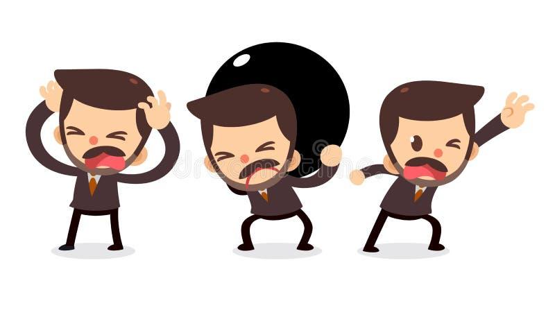 Ensemble de caractère minuscule d'homme d'affaires dans les actions Ayez besoin de l'aide illustration de vecteur