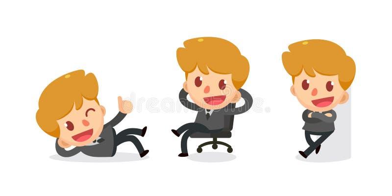 Ensemble de caractère minuscule d'homme d'affaires dans les actions détendez illustration stock