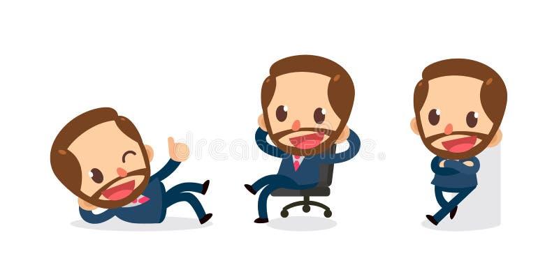 Ensemble de caractère minuscule d'homme d'affaires dans les actions Détendez le temps illustration libre de droits