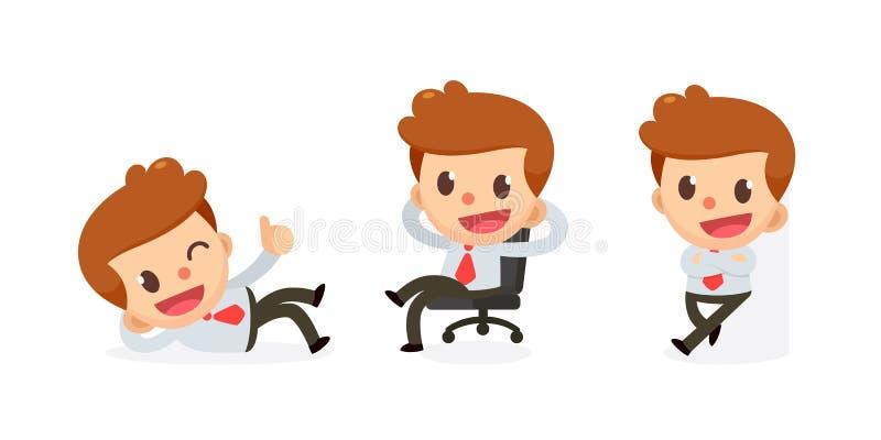 Ensemble de caractère minuscule d'homme d'affaires dans les actions Détendez le temps illustration de vecteur