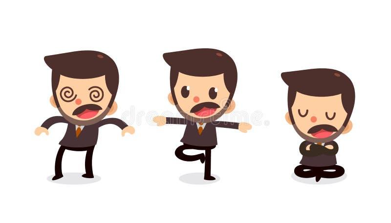 Ensemble de caractère minuscule d'homme d'affaires dans les actions engourdissement illustration de vecteur