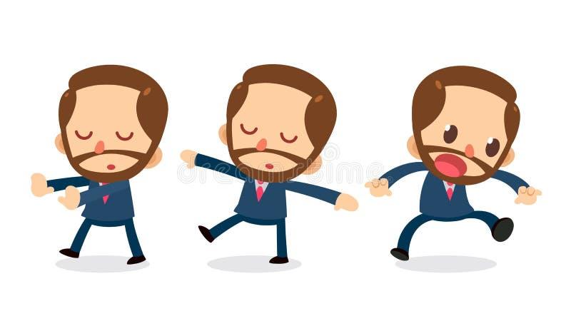 Ensemble de caractère minuscule d'homme d'affaires dans les actions rêvassez illustration libre de droits