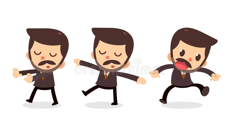 Ensemble de caractère minuscule d'homme d'affaires dans les actions rêvassez illustration de vecteur