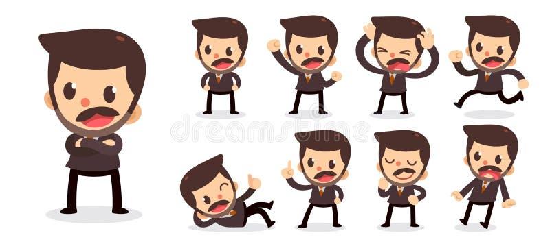Ensemble de caractère minuscule d'homme d'affaires dans les actions Un homme avec une moustache illustration stock
