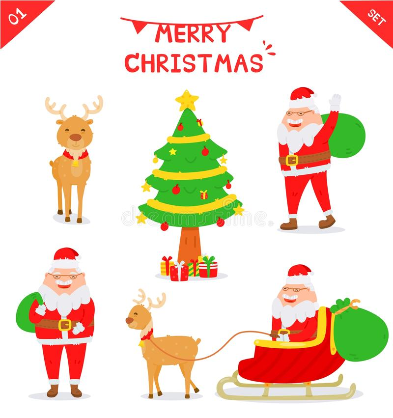 Ensemble de caractère de Santa Claus illustration de vecteur