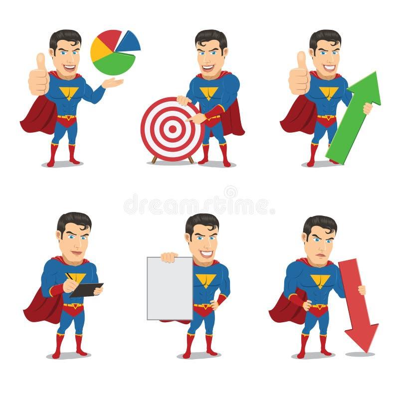 Ensemble de caractère de super héros dans 6 poses différentes - vol. 3 illustration stock