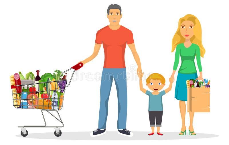 Ensemble de caractères d'achats de famille, illustration libre de droits