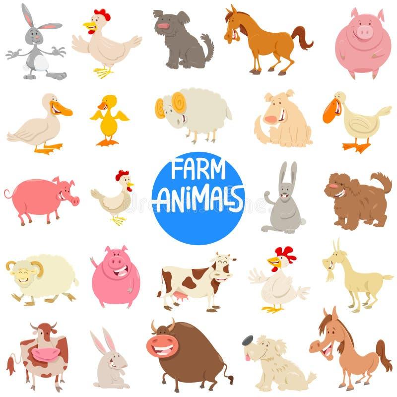 Ensemble de caractères d'animal de ferme de bande dessinée grand illustration libre de droits