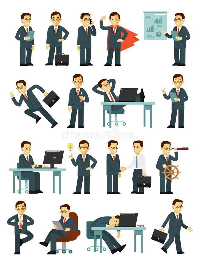 Ensemble de caractères d'homme d'affaires dans différentes poses dans le style plat d'isolement sur le fond blanc illustration stock