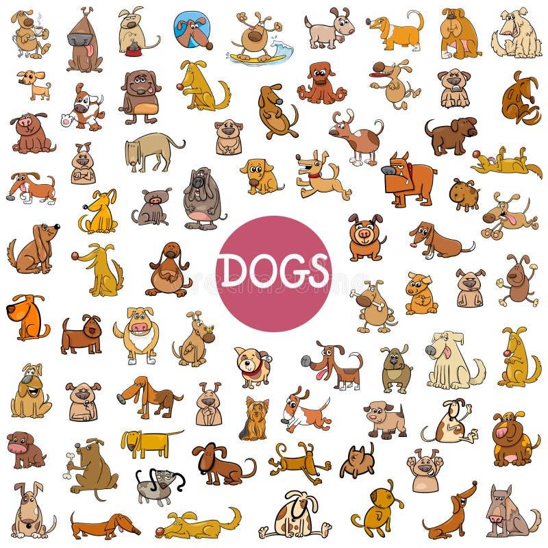 Ensemble de caractères de chien de bande dessinée grand illustration libre de droits