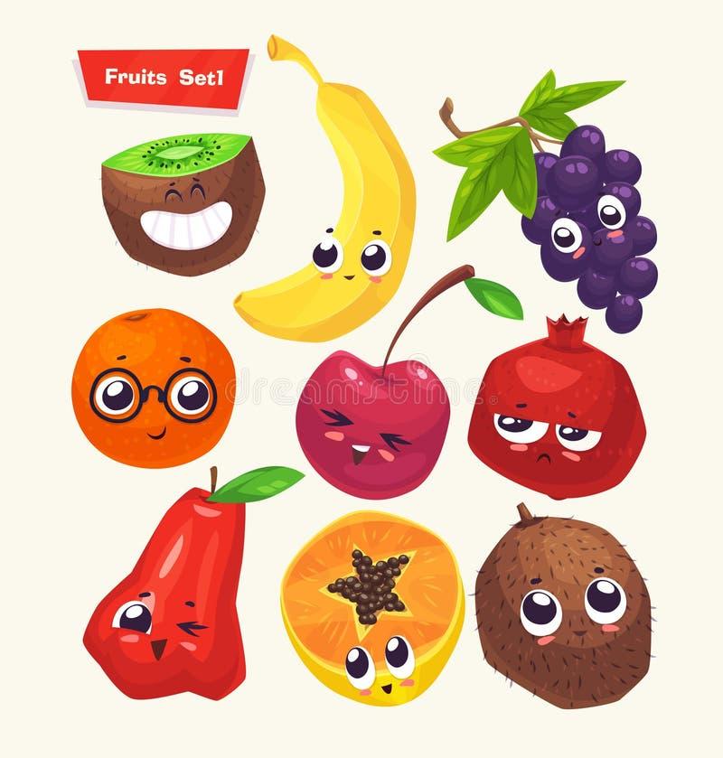 Ensemble de caractères de fruit Bandes dessinées mignonnes de vecteur illustration de vecteur