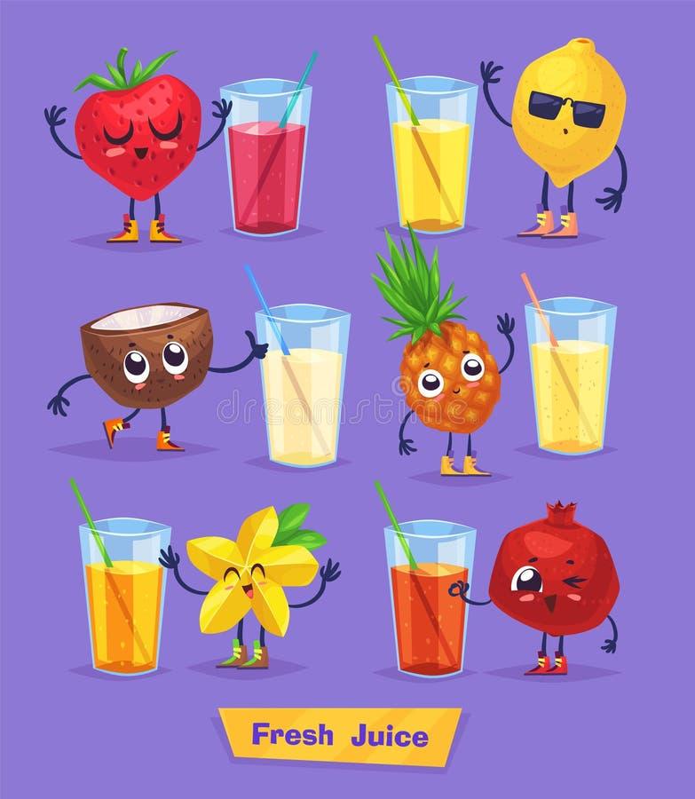 Ensemble de caractères de fruit et de jus frais Vecteur illustration stock