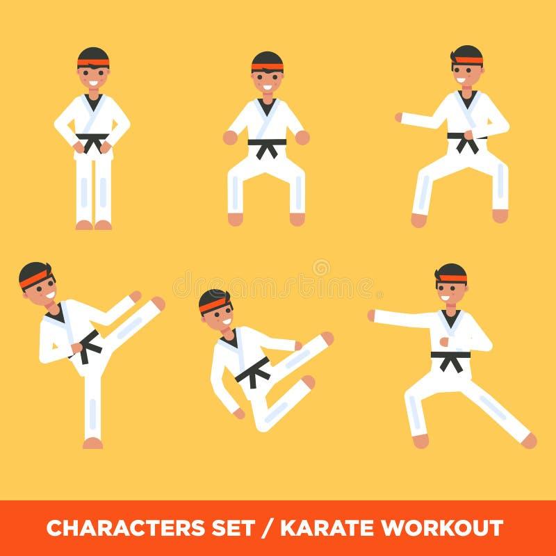Ensemble de caractères de garçons de karatee i illustration libre de droits