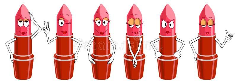 Ensemble de caractères de rouge à lèvres d'isolement sur le fond blanc photo stock