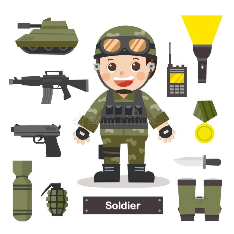 Ensemble de caractères de dirigeant de soldat avec le soldat e professionnel illustration de vecteur