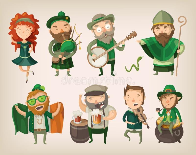 Ensemble de caractères irlandais illustration libre de droits