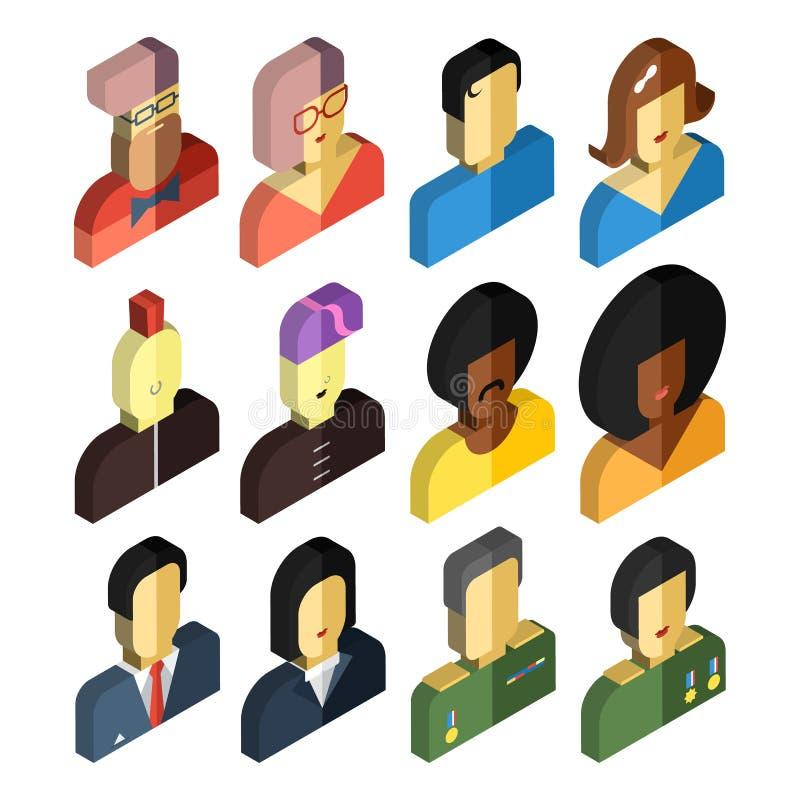 Ensemble de caractères isométriques de vecteur Icônes plates de conception d'avatar illustration libre de droits