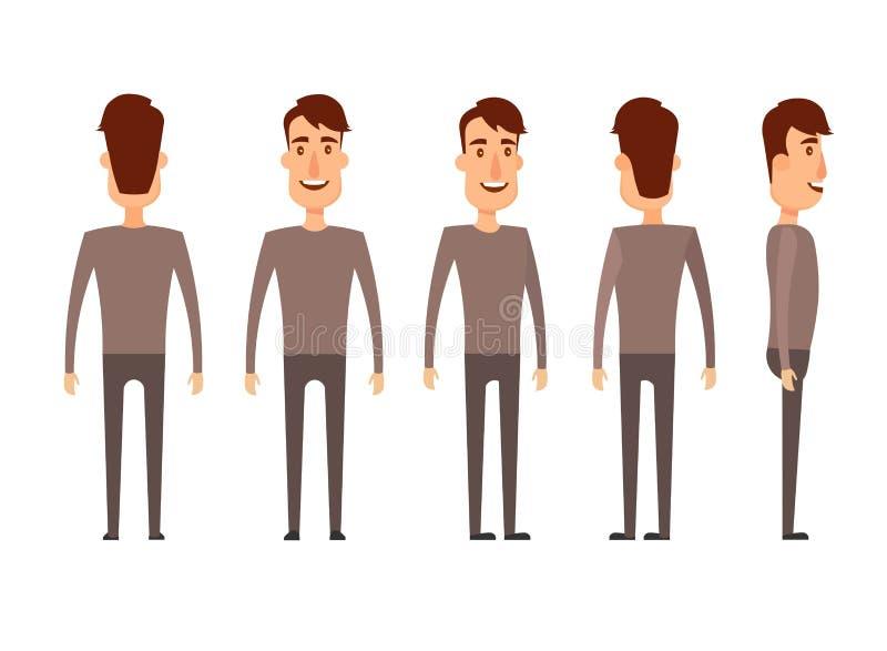 Ensemble de caractères masculins Homme, garçon, personne, utilisateur Style moderne d'appartement et de bande dessinée d'illustra illustration de vecteur
